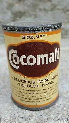 Vintage Cocomalt Free Sample Tin Litho Original Paper Label Can Chocolate Cocoa