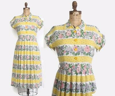 VTG 40s Pastel Floral Rayon Shirt Waist Day Dress M