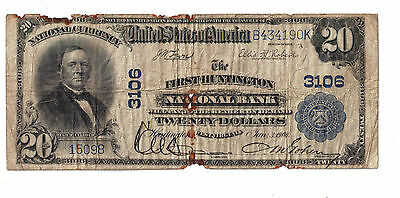 1902 $20 first national bank HUNTINGTON WEST VIRGINIA  BANKNOTE NATL CURRENCY