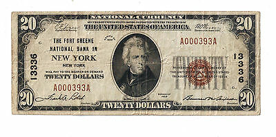 1929 $20 National Currency Fort Green New York Type 1 Very Rare Note