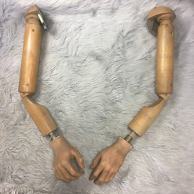 Antique Articulated Wooden Mannequin Arms Right and Left Early 20th Century VTG