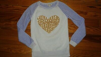 EUC Cherokee Girls Long Sleeve Sweater Sequin Heart Size 14-16 Blue