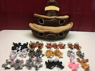 FAO schwarz noahs ark plush boat toy with finger puppet animals