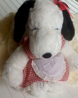 "Vintage 1968 Peanuts Snoopy's Sister BELLE 15"" Plush w/Gingham Dress  RARE"