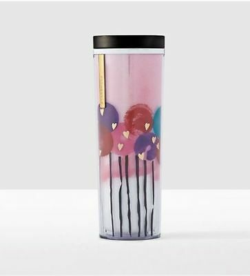 STARBUCKS VALENTINES 2017 COLD CUP BALLOONS HEARTS TUMBLER 16OZ- acrylic NEW