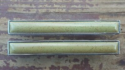 Vtg Bicentennial Cabinet Drawer Pull Handle MCM Green Speck Chrome Trim Lot of 2