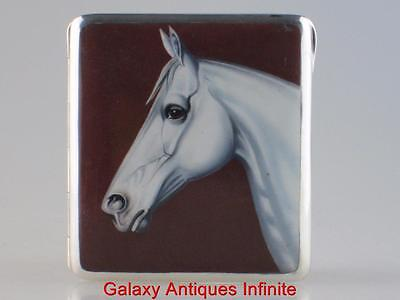 Antique Solid Silver Enamel Horse Cigarette Case Circa 1900