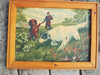 Vintage very old English & Irish Setter Dogs w/ Hunter paint by number Framed