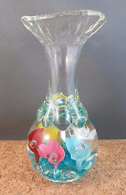 Vintage 1979 Maude and Bob St Clair Multi-colored Flower Paperweight Bud Vase