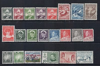 GREENLAND -  Mixed Lot of 22 Stamps  Most FU or MLH