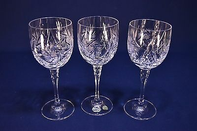 "Bohemia Pinwheel Cut Crystal Wine Glasses 7-1/2"" Tall -Excellent-Lot Of 3"