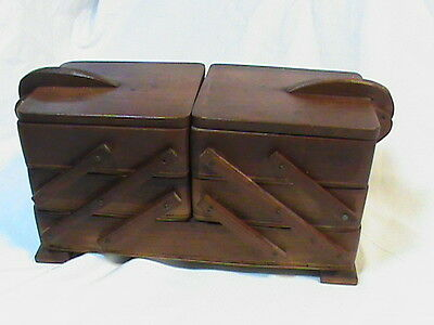 Vintage Accordion Folding Wood Sewing Jewelry 3 tier box