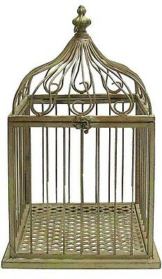 Antique Style Green Metal Bird Cage Large Home Decor Chic Bird Feeder