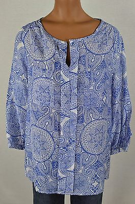 Joe Fresh Womens Blue/White Geometric Print 3/4 Sleeve Slit Shirt size XS NWT