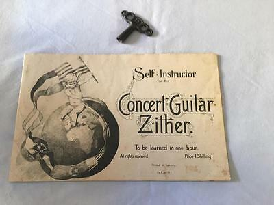 1920's Guitar Zither Accessories Original Tunning Key & Music Book