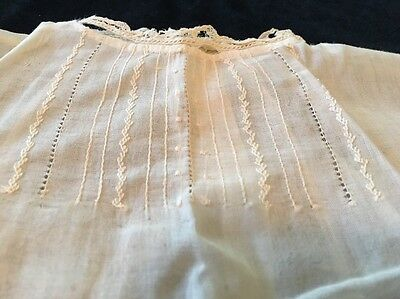 Antique Vintage Cotton Christening Baptism Gown  For Infant Baby