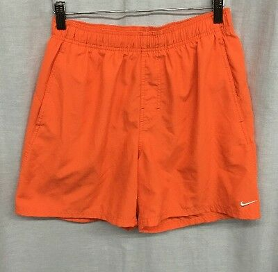 NIKE Boys S Orange Drawstring Netting Swimming Trunks Shorts Pockets