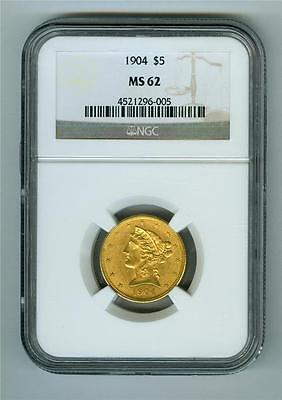 U.s. 1904 Liberty Head $5 Gold Ngc Ms-62 Unc