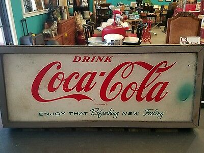 VINTAGE RECTANGLE DRINK COCA-COLA  SIGN plexiglass  RED/GREEN