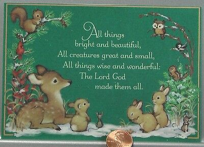 VINTAGE Deer Bunny Owl Mice Squirrel - Religious Christmas Hallmark Card  UNUSED