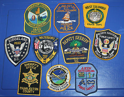 10 SOUTH CAROLINA POLICE patches SC PD Lot #22