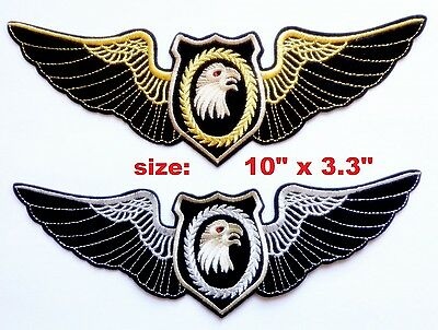 """Eagle Head Gold or Silver Wings Large 10"""" x 3.3"""" Embroidered Patch Sew/Iron-On"""