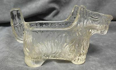 L E Smith Glass Scottie Dog Clear Textured Creamer Post Cereal 1930s