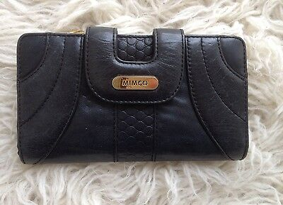 Mimco Black Leather Pattern Hardware Purse Wallet RRP $299