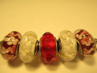 5 Pandora Silver 925 Ale Red White Field of Flowers Murano Glass Beads Charm New