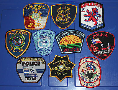 10 TEXAS POLICE patches TX PD Lot #42