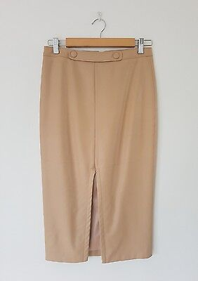 ♡ BARDOT Faux Leather Midi Pencil Skirt in Nude - Size 10 ♡