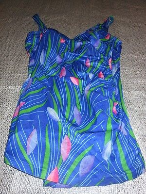 60s Vintage SWIMSUIT 1 Piece OCEAN BLUE w ABSTRACT FLORAL Deweese Style Sz 14