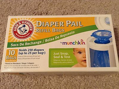 Munchkin Arm & Hammer Diaper Pail 10 Refill Bags 250 Diapers Old Style New