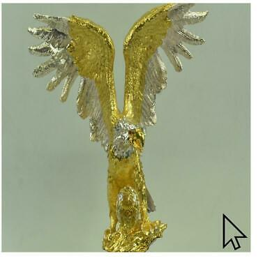 Large 24K Gold And Silver Bald American Eagle Hot Cast Masterpiece Bronze