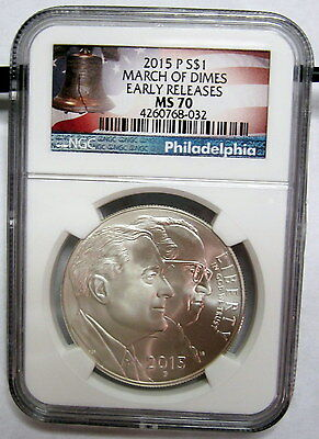 2015 P March Of Dimes Uncirculated Silver $1 NGC MS70 Early Releases