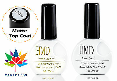 HMD Soak Off UV LED Gel Nails Polish matte top coat and base coat no wipe
