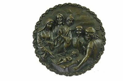 Bronze Sculpture Manger Scene Mary Joseph And 3 Wise Men Wall Plaque Decor BM