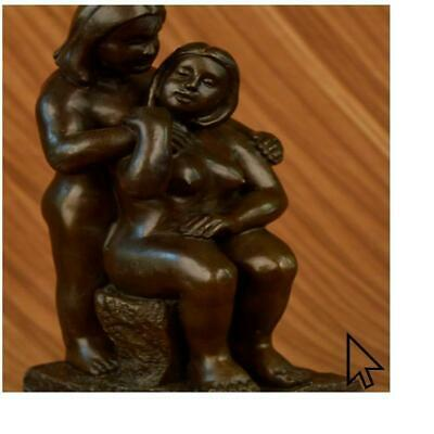 Signed Fernando Botero Bronze Statue Portrait Two Woman Abstract Modern Art BM