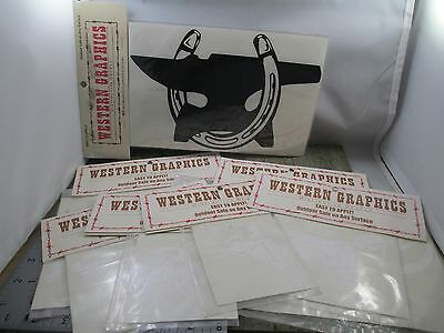 Western Graphics Decals Lot Horseshoe Anvil Horse Various Sizes