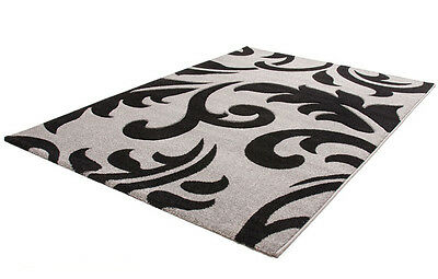 "Modern Hand Carved Floral Style Rug in Grey Silver 120 x 170 cm (4'x5'6"") Carpet"