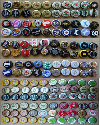 140 Mixed Beverage Bottle Crown Seals from Various Countries
