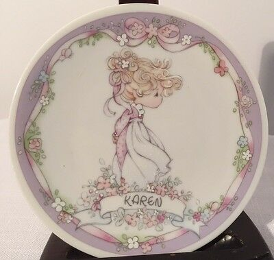 """Precious Moments Small 4"""" Plate, Karen, Ceramic Your Name is a Gift EUC"""