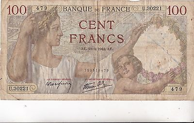 Billet De 100 Francs Sully 1942  479