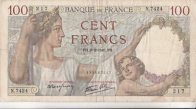 Billet De 100 Francs Sully .  1940  217