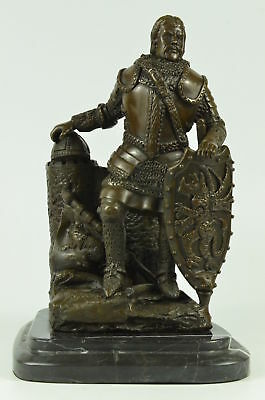 Signed Dalov Heavy Armor Viking Warrior Bronze Sculpture Figure Figurine BM