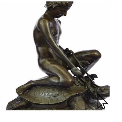 Signed Mercie Nude Boy Riding Turtle Bronze Sculpture Marble Base Figurine BM