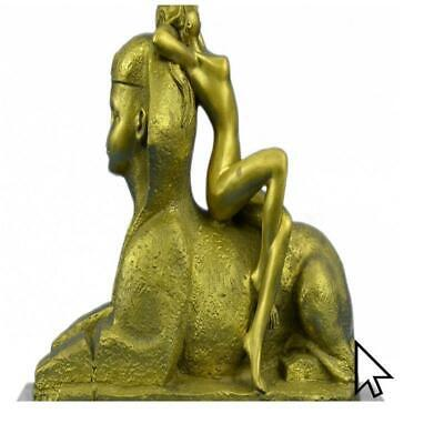 Egyptian Lion With Nude Nymph Bronze Sculpture Statue FigurineBM
