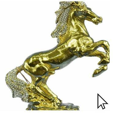 24K Gold Silver Plated Wild Horse With Cubic Zirconi Bronze Sculpture StatBM