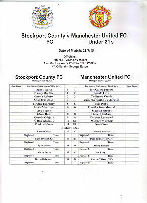 2015/16   Stockport County 1st Team    v    Manchester United Res     MINT