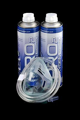Pro2 Oxygen Cans *40* Litres With Medical Mask